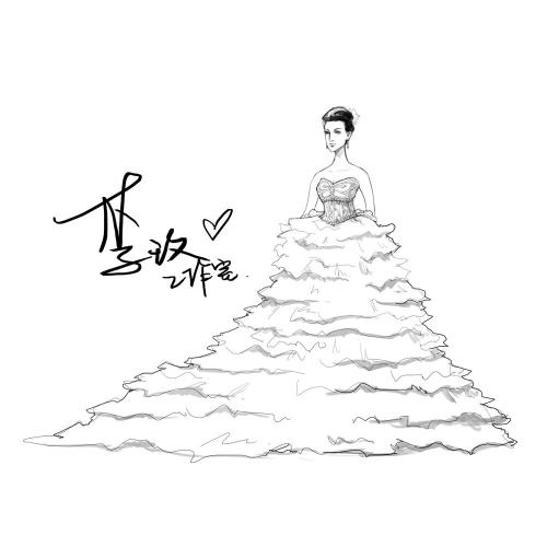 手绘婚纱铅笔画