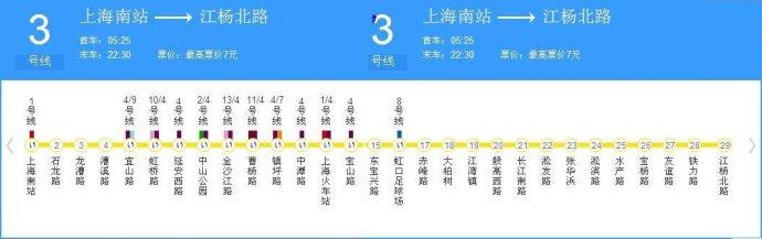 最新上海地铁3号线时刻表 上海地铁3号线线路图